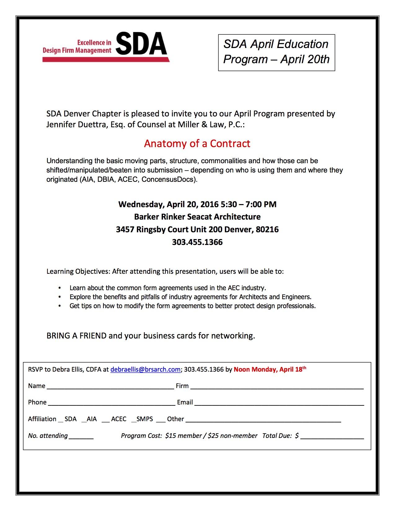 Women In Design – SDA Edcuation Event – Anatomy of a Contract